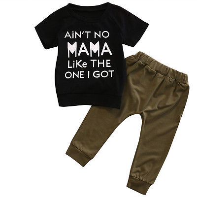 2pcs Newborn Infant Toddler Kids Baby Boys Clothes Outfits Short Sleeve T-shirt Tops+Long Pants Playsuit