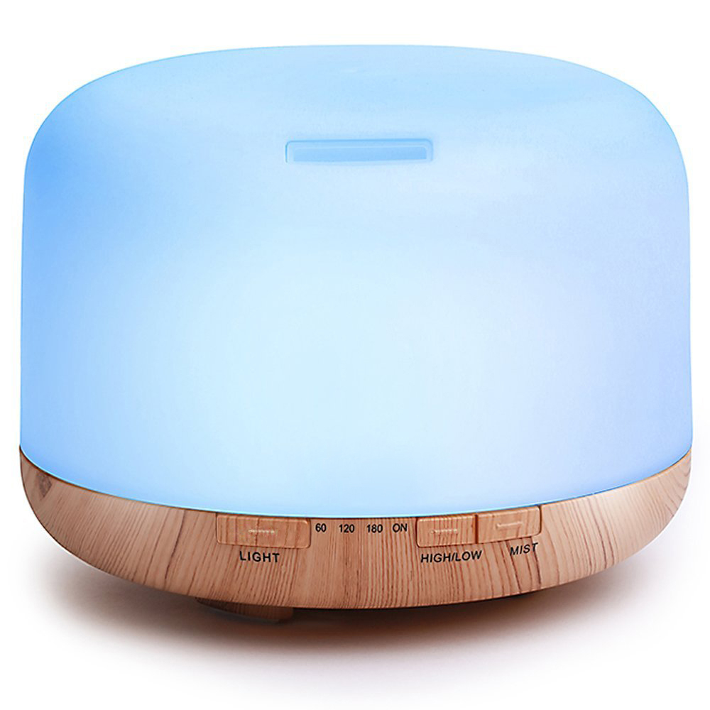 humidifier 500ml Wood grain 110v-220v air humidifier Colorful LED aromatherapy ultrasonic humidifier colorful wood grain print flannel bath rug