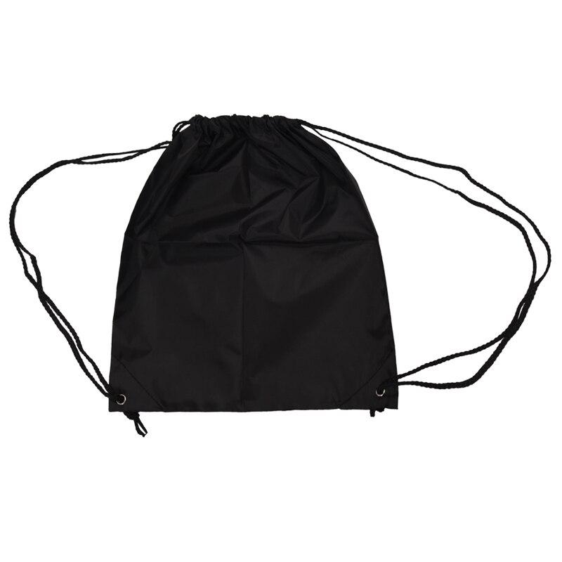 School Drawstring Book Bag Sport Gym Swim PE Dance Shoe Backpack-black