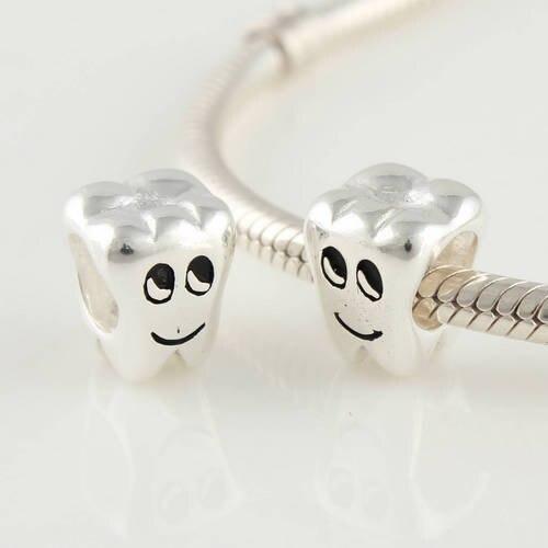 Authentic 925 Silver Beads Fits Pandora Charm Bracelet DIY Vintage Smiling Teeth European Charm Women Jewelry