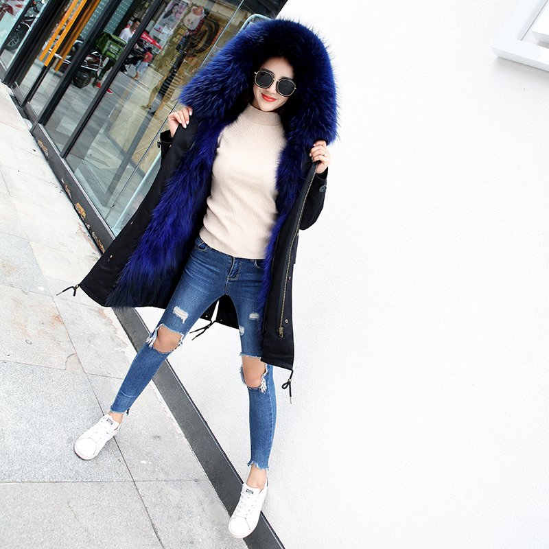 2017 long winter jacket women outwear thick parkas raccoon natural real fur collar coat hooded real warm fox fur liner 2017 autumn winter jacket coat women holes denim long jacket real large raccoon fur collar and faux fur thick warm liner