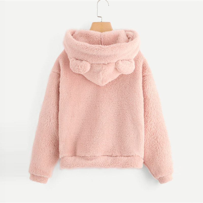 SHEIN Preppy Lovely With Bears Ears Solid Teddy Hoodie Pullovers Sweatshirt Autumn Women Campus Casual Sweatshirts 6