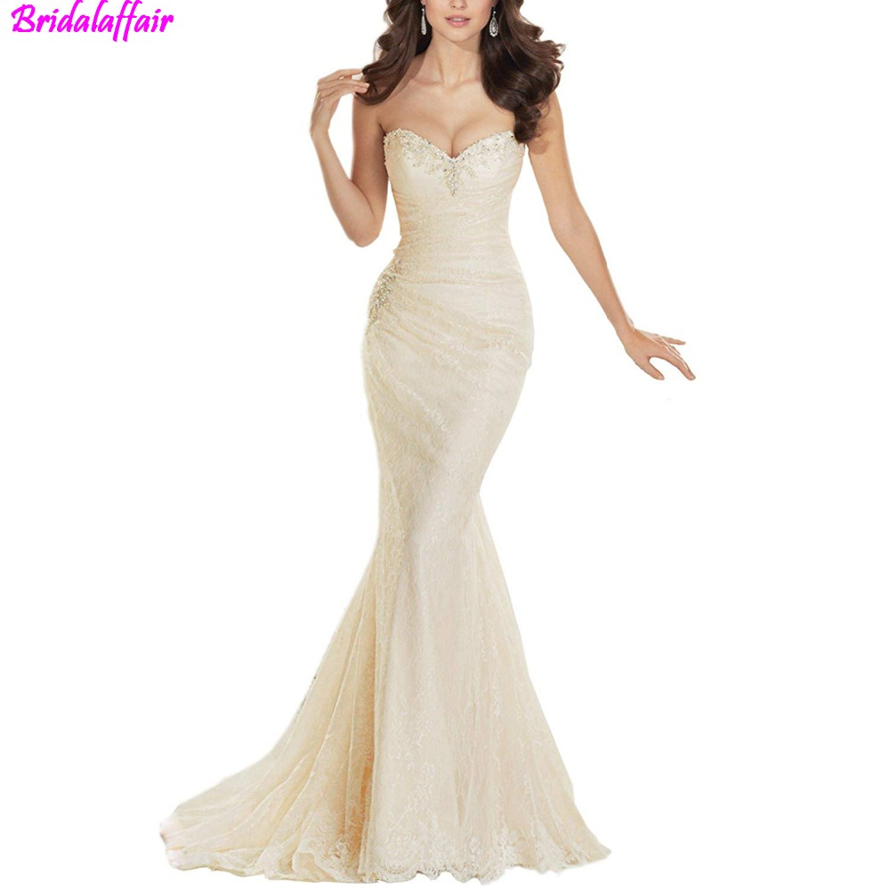 Sweetheart Beaded Pleat Lace Up Mermaid Wedding Dress 2019 Mermaid Bridal Gown White Wedding Gown Mermaid vestido de noiva