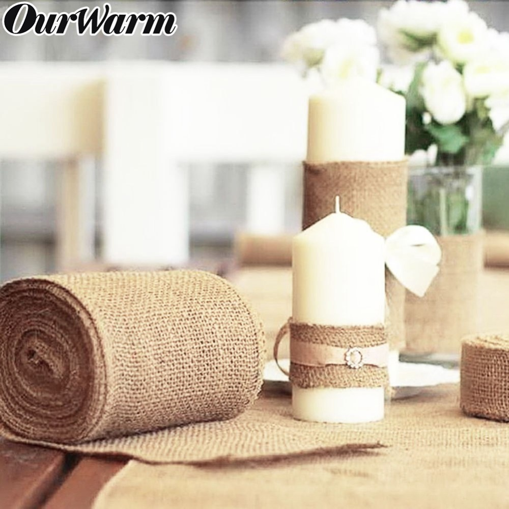 OurWarm 10M*33CM Vintage Hessian Jute Burlap Roll for Wedding Party - Festive and Party Supplies