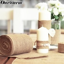 OurWarm Vintage Hessian Jute Burlap Roll for Wedding Party Table Runner Banquet Home Decoration Party Supplies 10M*33CM