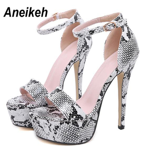 Image 3 - Aneikeh 2020 사문석 플랫폼 하이힐 샌들 여름 섹시한 발목 스트랩 오픈 발가락 검투사 파티 드레스 여성 신발 크기 4 9