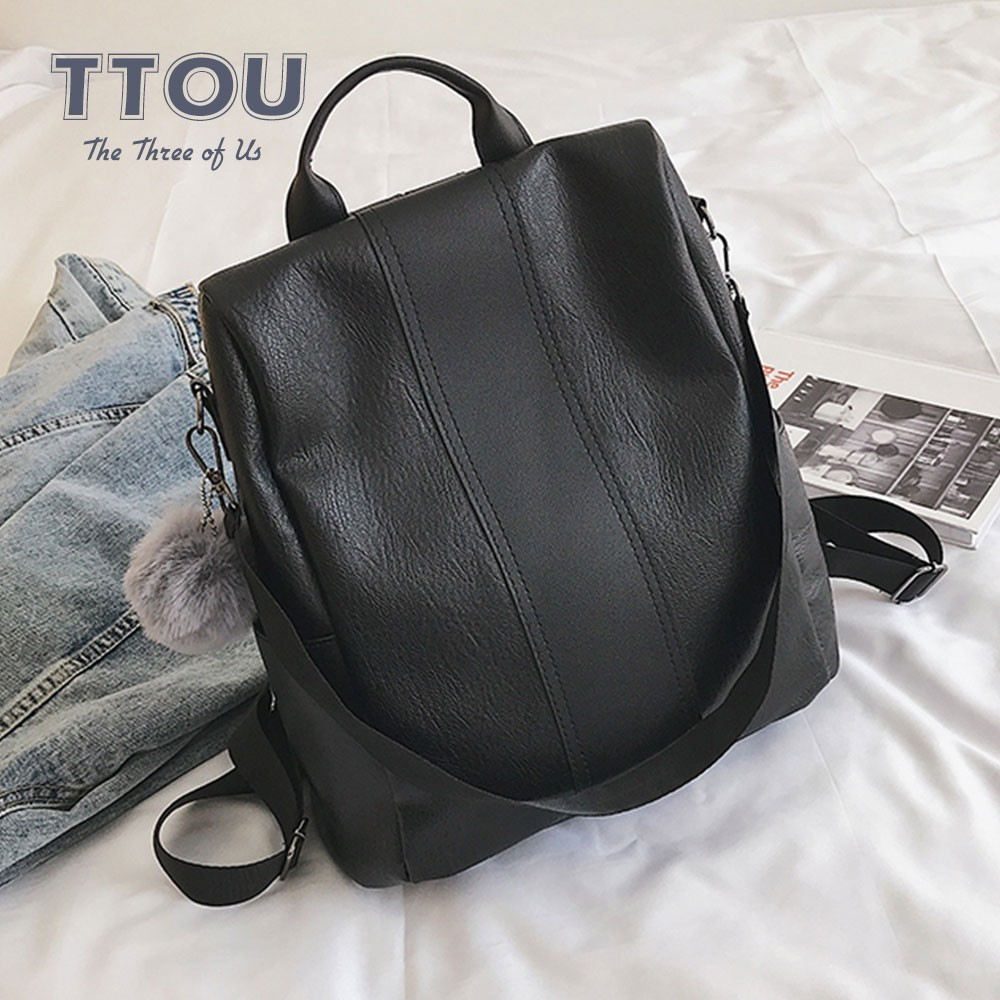 TTOU Fashion Women Anti-theft Backpack Quality Leather Vintage Backpacks Casual Female Larger Capacity School Shoulder Bag Sac