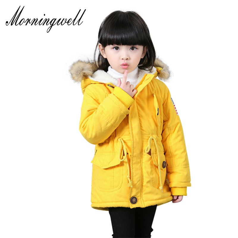 Morningwell jacket for kids boys autumn winter Korean fashion hooded lambswool fur coats thick cotton warmer girls winter coats new winter baby hat real fur pom pom knitted toddler kid thick warm double raccoon fur balls beanies boys girls bonnet gorros f3