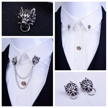 2016 The New Fashion Vintage Dragon Brooch Wedding Suit Tassel Chain Collar Pin For Men