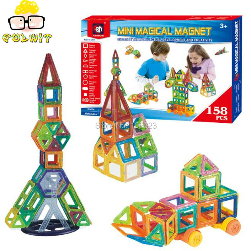 ФОТО 158pcs Quality Cost-effective Mini Magnetic Building Blocks, Baby Early Learning Wisdom Enlightenment, Interest Magnet Sheet Toy