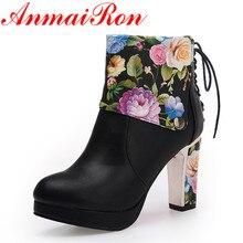 ANMAIRON Новая обувь женская обувь на молнии ботильоны для женщин белого цвета зимние теплые ботинки сапоги на платформе и высоком каблуке большие размеры 34–43