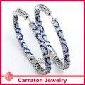 Carraton ESQD2095 Luxury Full Mixed Color CZ Genuine 925 Sterling Silver 50mm Big Hoop Earrings
