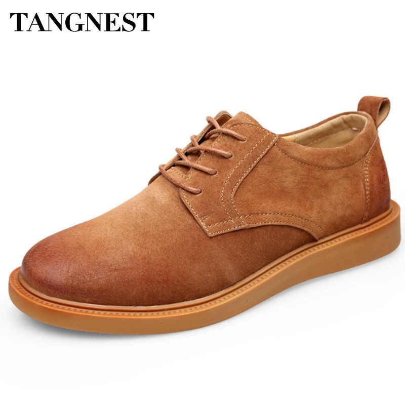 Tangnest Genunine Người Đàn Ông Da Oxford Giày Thường Giày Thời Trang Phong Cách Người Anh Người Đàn Ông Căn Hộ Ren Lên Người Đàn Ông Thở Giày XMR2764
