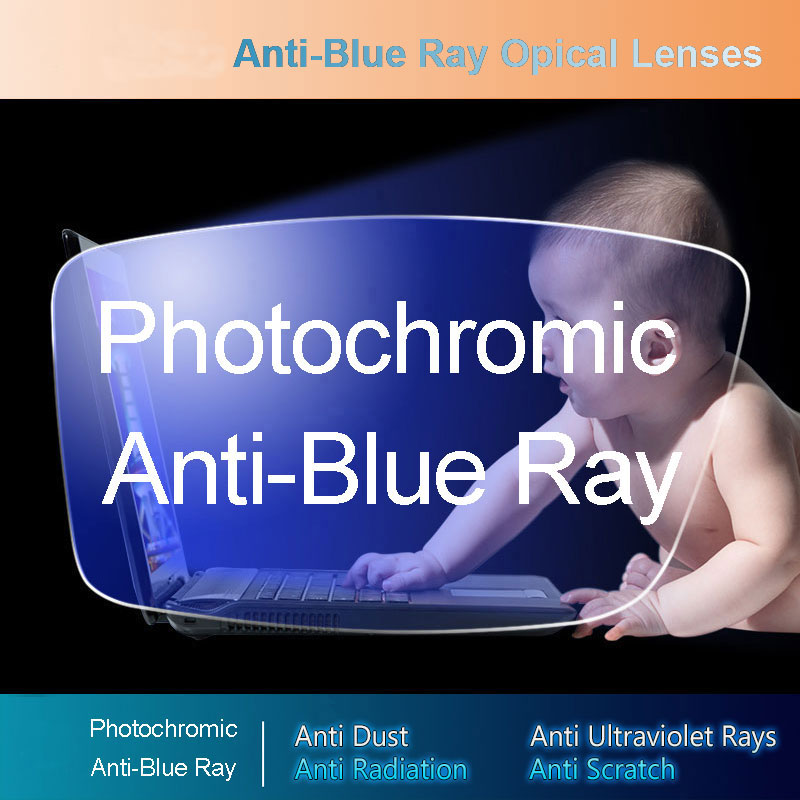 Anti-Blue Ray Photochromic Gray Lens Optical Lenses Prescription Vision Correction Computer Reading Lens Myopic Hyperopia