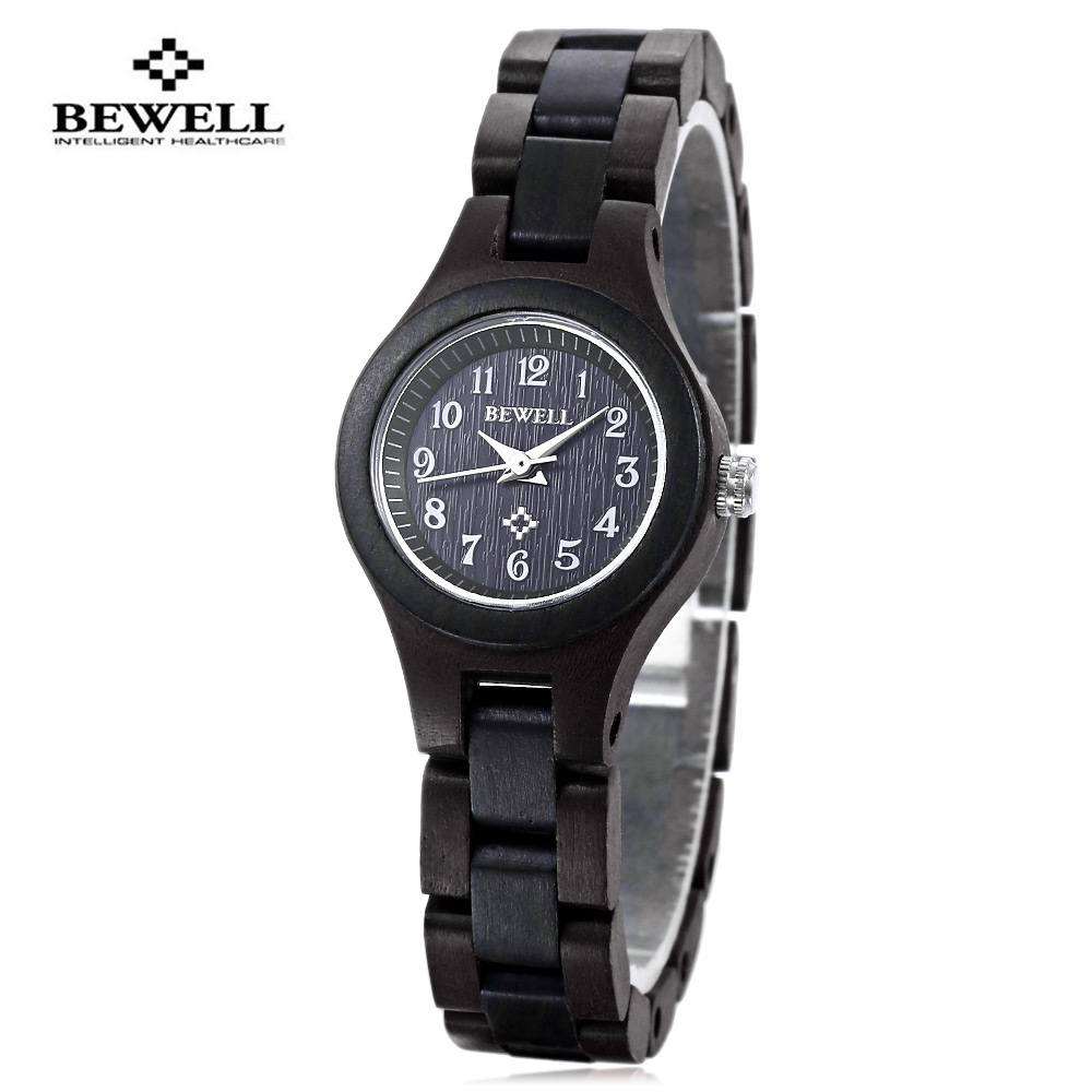 BEWELL Women Quartz Watch Water Resistance Wooden Case Slender Strap Wristwatch