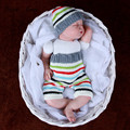 Baby born photographygray outfits  crochet infant costume white striped  hat and pants pictures baby clothes baby wear crochet