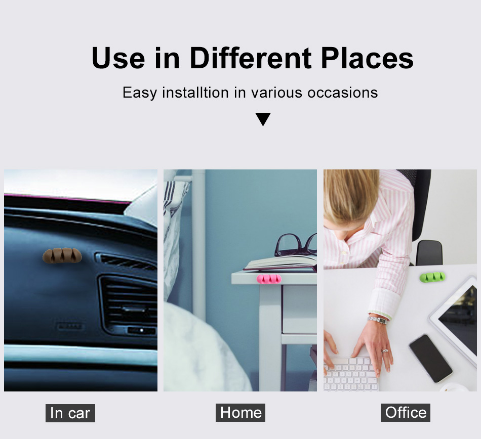 !ACCEZZ Management Headphone Holder Winder Earphone Clip Charge Wire Winder Desktop Phone Cable Mouse fixer Cord Silicone Holder (4)