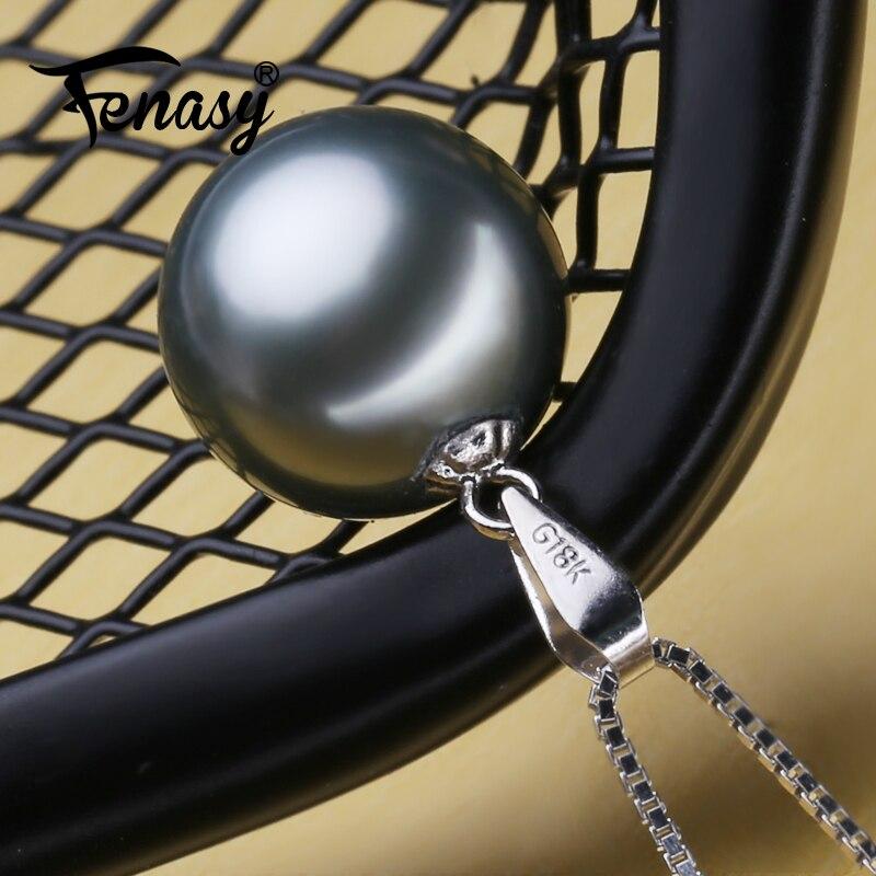 Подвеска FENASY из 18 каратного белого золота, большие круглые жемчужные украшения с серебряным браслетом G18K