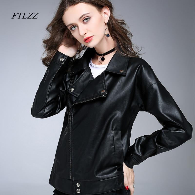 e95a59c0609b5 Ftlzz Women Spring Pu Leather Jacket Zippers Washed Black Motorcycle Coat  Vintage Short Biker Leather Jackets Female Caots