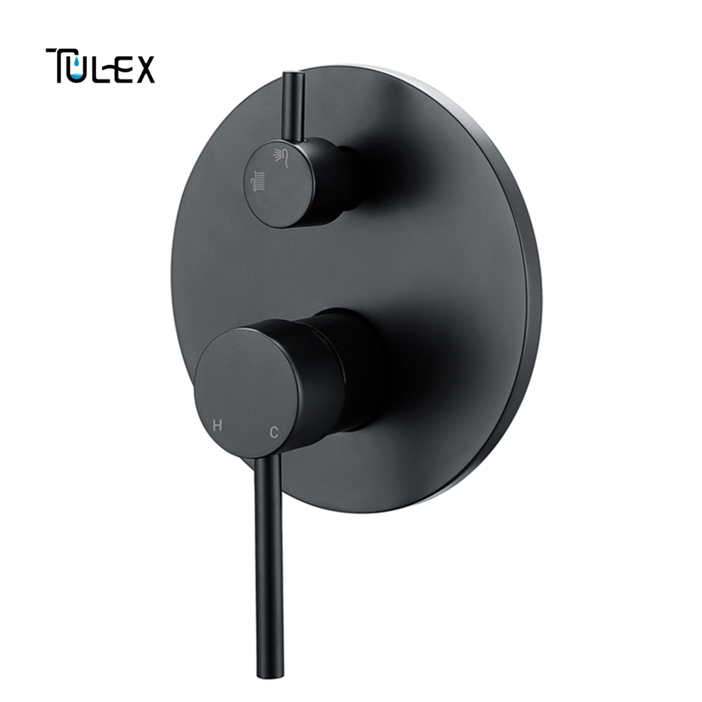 TULEX Black Wall mixer Concealed Shower Mixer Chrome Wall Mounted Valve Two Function Shower Diverter Shower