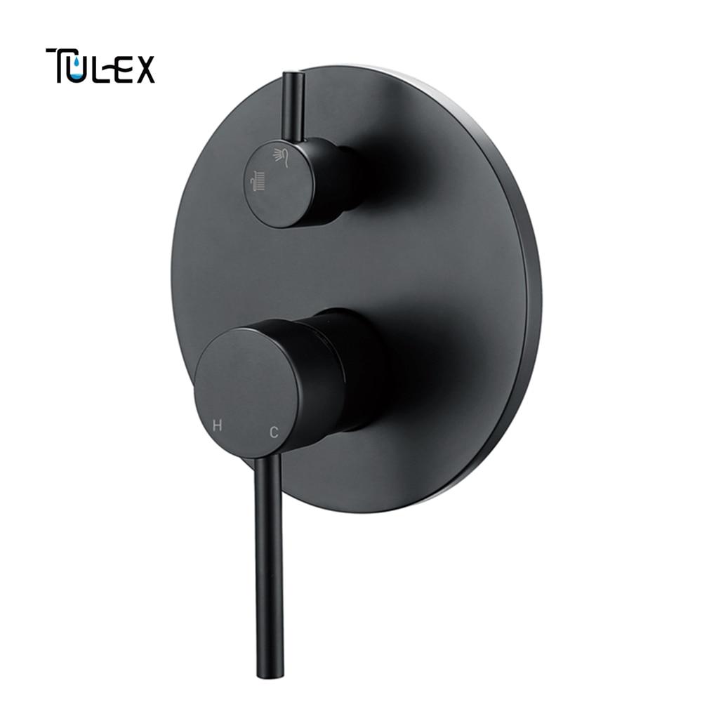 TULEX Nero miscelatore A Parete Doccia Incasso Miscelatore Cromato A Parete Valvola A Due Funzione Doccia Deviatore Doccia Rubinetto per il Bagno