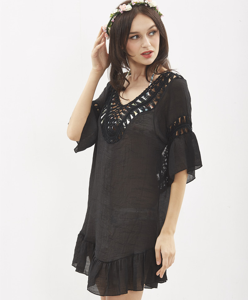 cotton linen hand crochet hook stitching knitted fringed blouse dress women bikini blouse cover up party dress in Dresses from Women 39 s Clothing