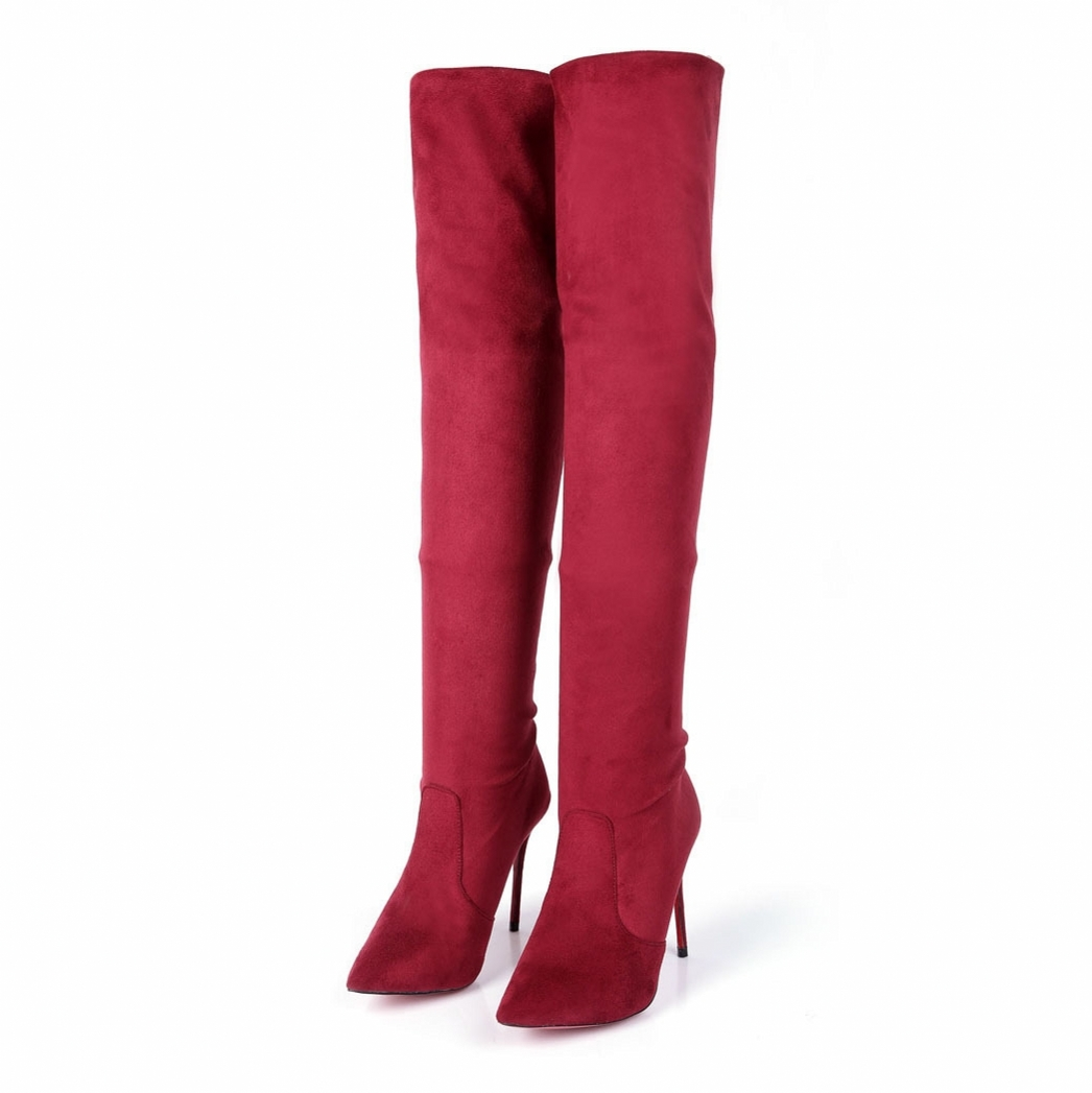 Women New Elegant Sexy Over The Knee Boots Casual Black Fashion Genuine Leather High Heels Pointed Toe Pumps Shoes Red CN-A0004 fashion new spring summer med high heels good quality pointed toe women lady flock leather solid simple sexy casual pumps shoes
