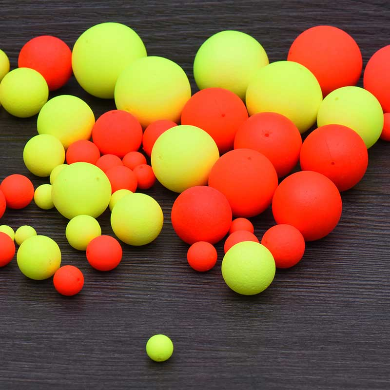 100PCS Foam Floats Ball Beads Beans Pompano Float Bottom Rig Rigging Material for Saltwater Freshwater Fishing Fake Bait wifreo 30pcs bag soft fake floating tiger nut bait pop ups scorpion carp rig pop up rig big carp fishing tackle s m