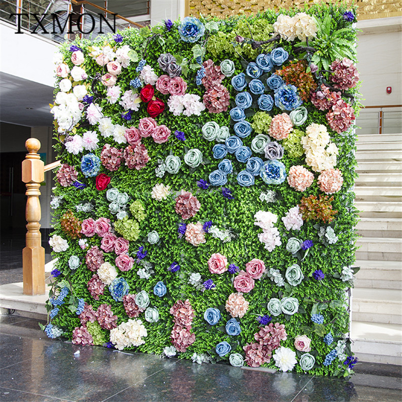 الزفاف الديكور الدعائم محاكاة جدار مصنع محاكاة جدار الحديقة الأخضر الجدار الديكور الزفاف حديقة الزفاف زهرة الجدار-في زهور مجففة واصطناعية من المنزل والحديقة على  مجموعة 1
