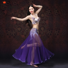 For oriental dance Women Dancewear Belly Dancing Clothes Outfits Beaded Dance Costume 2 pcs/ Set Bra Skirt