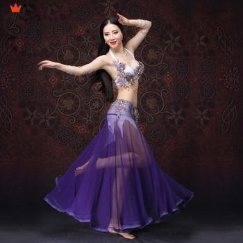For oriental dance Women Dancewear Belly Dancing Clothes Outfits Beaded Belly Dance Costume 2 pcs/ Set Bra Skirt