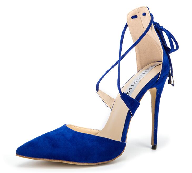 ФОТО High Quality Women Blue Suede Leather Pointed Toe Lace-up Gladiator Pumps Ankle Strap High Heels Evening Dress Shoes