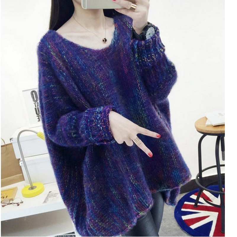 MUXU Autumn Winter Colour Bat Sleeve Cloak pullover Head Sweater Loose Knitting Korean fashion woman clothes Keep Warm clothing in Pullovers from Women 39 s Clothing