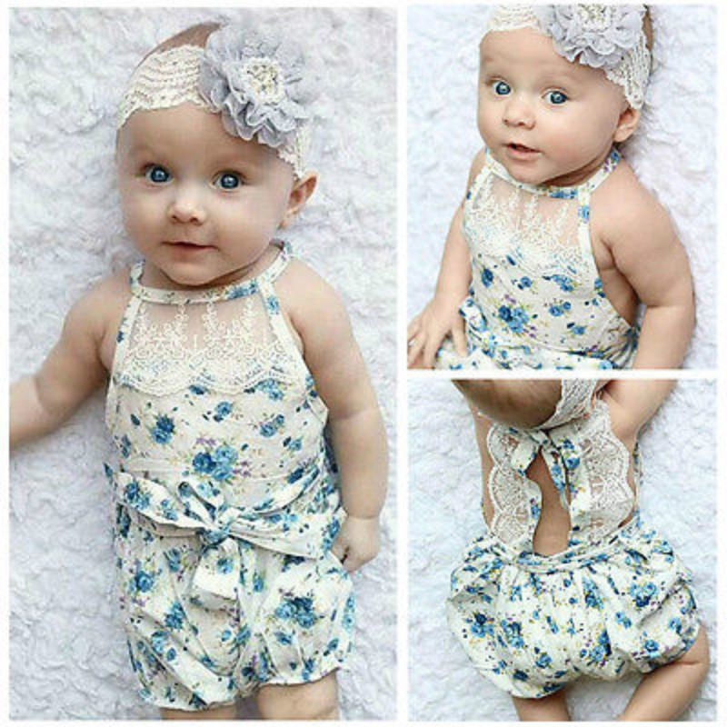 Newborn Infant Baby Girl Rompers Floral Romper Jumpsuit Blue Printed Floral Teddy Baby Rompers Girls Clothes 0-18M