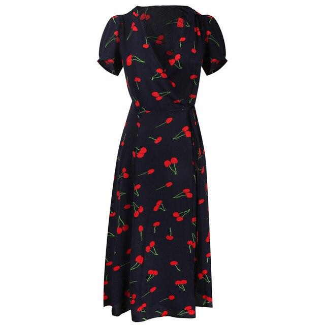 Plus Size Women Dress Cherry Print Short Sleeve Vintage French Dress V-neck Midi Dress Chiffon Summer Dress Vestidos 2019 S-4XL