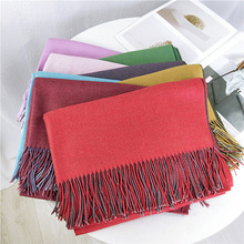 2018 New double colored scarves wraps women neck scarf autumn winter thickening Korean double-sided dual-purpose long warm shawl