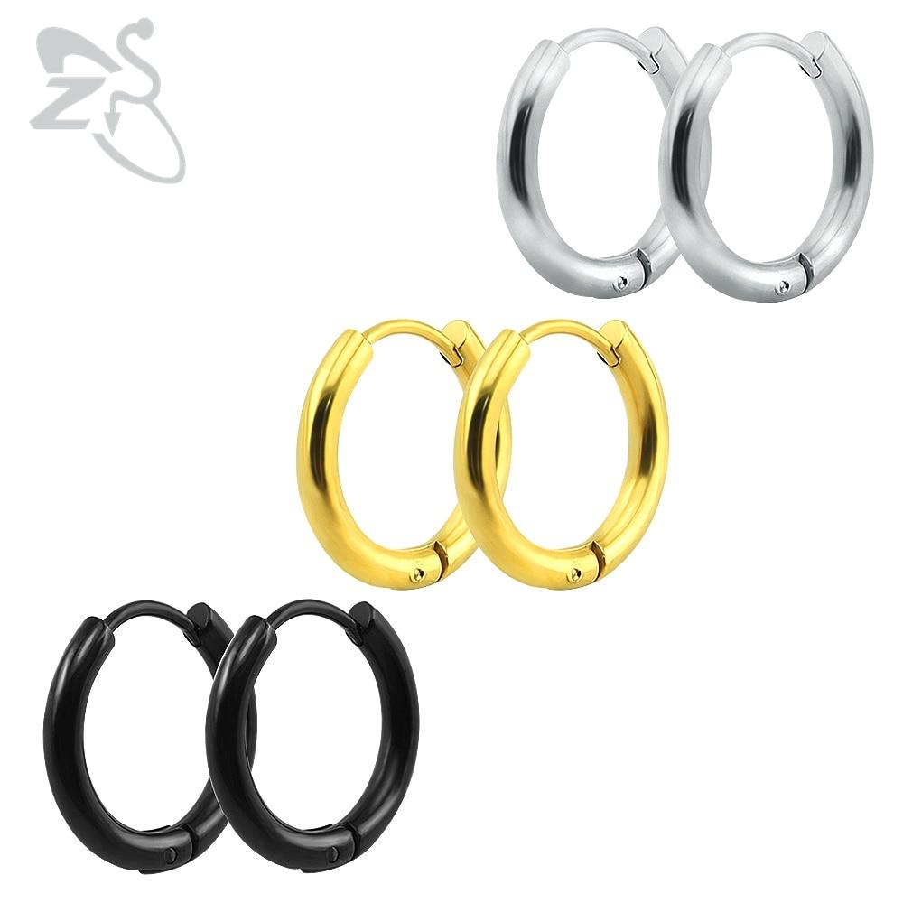 Small Hoop Earrings Silver Gold Stainless Steel Hoop Earring For Women Men  Ear Rings Clip Colored Creoles Huggie Circle Earrings