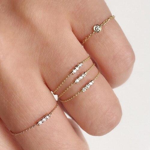 100% 925 sterling silver AAA + cubic zirconia lunetta fascino cz cz bar delicato delicato catena sottile semplice anello ragazza