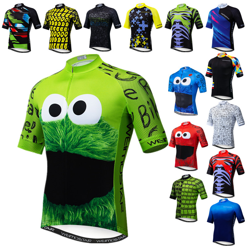 Weimostar Top Green Cycling Jersey Funny Men's Cookie Bicycle Cycling Clothing Maillot Ciclismo Breathable MTB Bike Jersey Shirt(China)