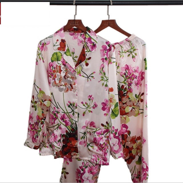 100% Silk Pajama Sets Women Flower Print Sexy Stain Pajama Set Two Piece Silk Nightwear pijama feminino Sleepwear Set Pajamas