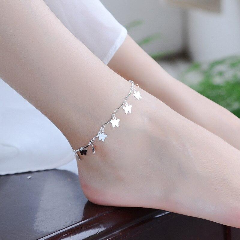 TJP Fashion Lady Butterfly Accessories 925 Silver Anklets For Women Party Jewelry Latest Girl Bracelets Silver Bijou 2018 Hot