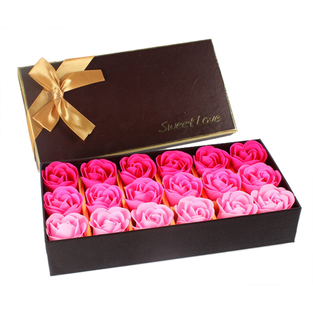 18Pcs Creative Gradient Simulation Rose Soap Flower 4Types Beautiful Colors