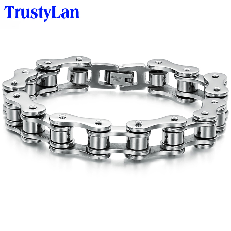 TrustyLan Punk Stainless Steel Bracelet Men Biker Bicycle Motorcycle Chain Mens Bracelets & Bangles 2017 Fashion Jewelry Gifts - 168 store