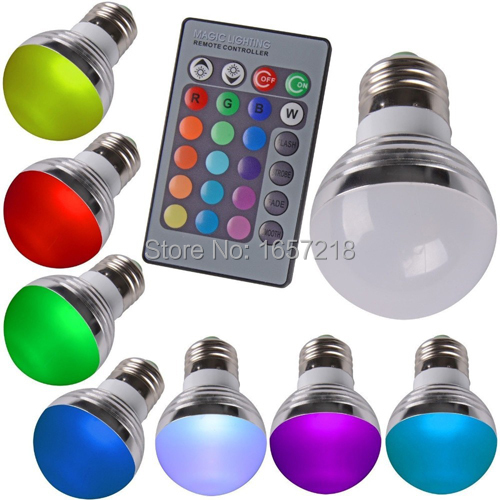 Dimmable RGB E27 LED Light Bulb And Remote Controller Magic Lighting 16 Colors 85-265V +24Key IR Remote Control1PCS/Lot