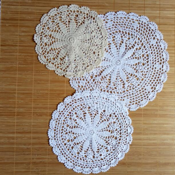 Modern Cotton Crochet Doily Round Width 22cm 28cm 30cm Placemat Coaster Kitchen Mug Cup Mat Pads Table Decoration Accessories