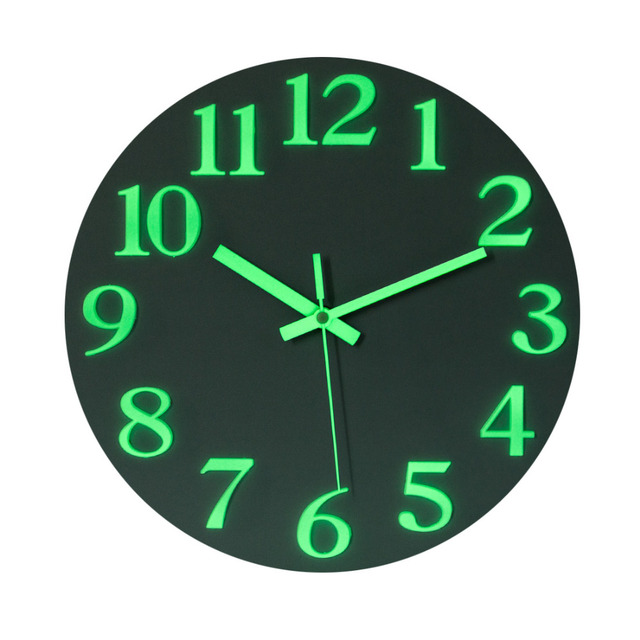 12 inch Night Lights Stereo Numbers Mute Clock Silent Wall Clocks For Home Decor Brief Wall Clock Modern Silent Clocks 2019