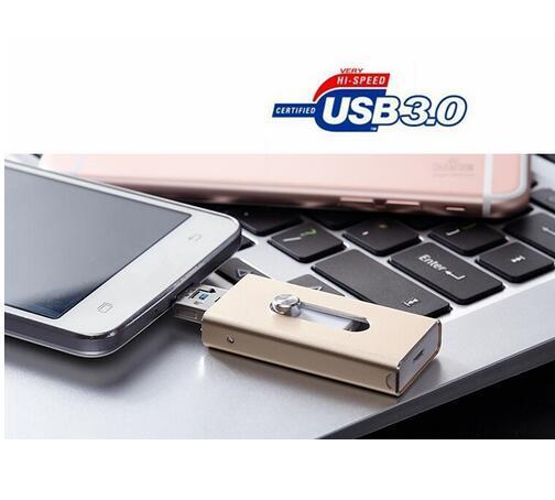Relámpago caliente OTG Flash Drive 16/32/64/128 gb Para iOS 10 y USB Para ordenador pc para tablet otg pen drive para iphone u disco 3.0