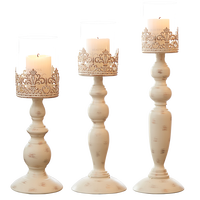 European Wedding Retro Candlestick Hollow Carved Vertical Candlestick White Color Iron Art Metal Candlestick Wedding Home Decor