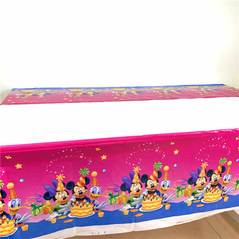 Party Supplies 1pcs Disney Minnie Mickey Kid Birthday Party Decoration Princess Elsa Disposable Tablecloth Table Cover 108*180cm