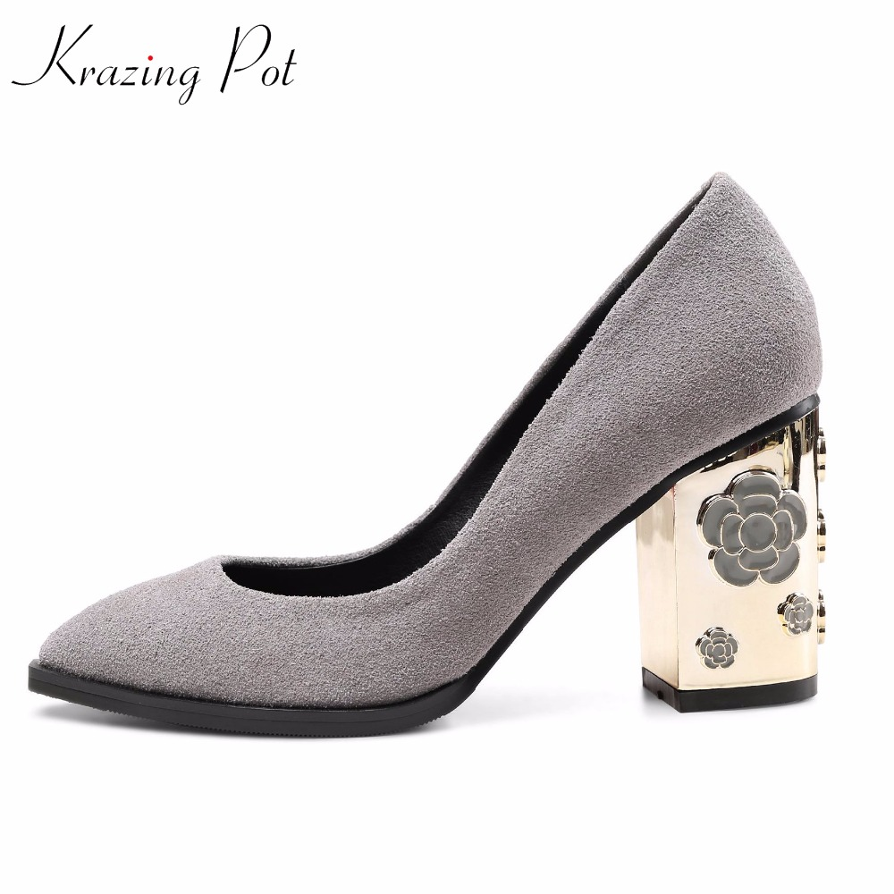 Krazing Pot fashion brand shoes sheep suede slip on metal flowers heel shoes women plus size high heels wedding women pumps L43 gunsafe bs924 l43